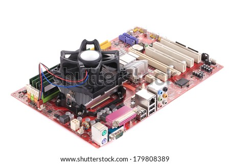 Motherboard. Isolated on a white background. - stock photo