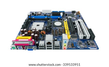 Motherboard Isolated on white background - stock photo