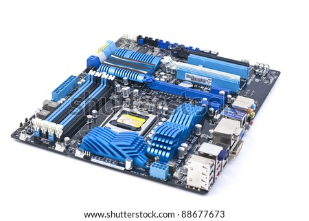 Motherboard on white background - stock photo