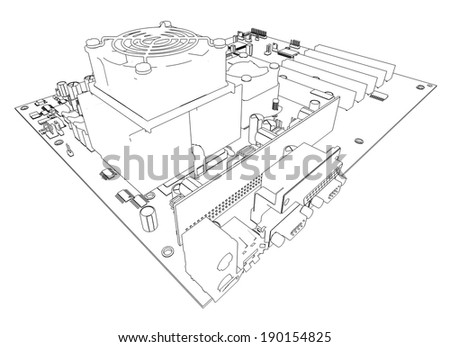 Motherboard. Wire frame isolated render on white background - stock photo