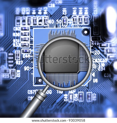 motherboard with microchip and magnifying glass