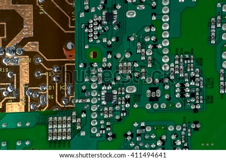 Motherboard with parts close up for the manufacture of electronic devices