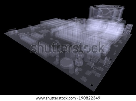 Motherboard. X-ray isolated render on white background - stock photo