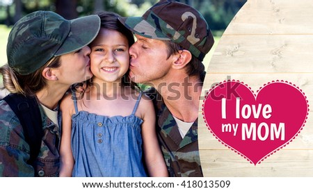 mothers day greeting against a soldier couple kissing their daughter - stock photo