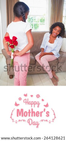 mothers day greeting against daughter hiding bouquet of roses for mother on the couch - stock photo