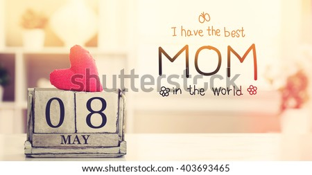 Mothers Day message with wooden block calendar  - stock photo