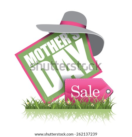 Mothers Day sale icon illustration for greeting card, ad, promotion, poster, flier, blog, article, social media, marketing, flyer, web page, signage - stock photo