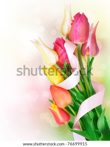 Mothers Day spring flowers bouquet - stock photo