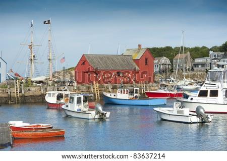 Motif #1, fisherman's shack in Rockport harbor, massachusetts, USA - stock photo