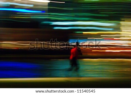 Motion abstract with blurred lights and jogger shape - stock photo