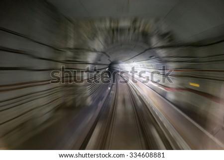 Motion blue from Singapore Mass Rapid Transit - stock photo