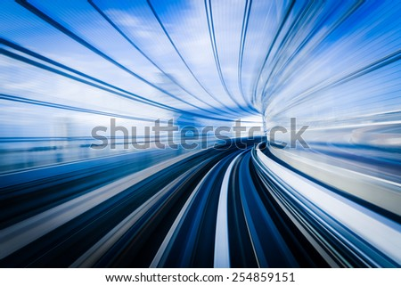 Motion blue of a Japanese mono rail