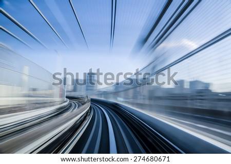 Motion blue of a Japanese mono rail - stock photo