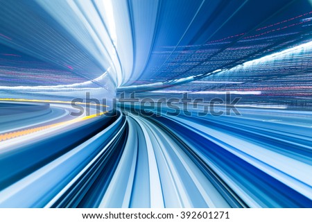 Motion blue of Japanese mono rail - stock photo