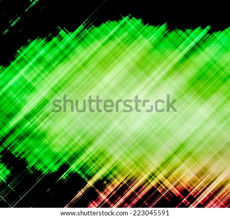 Motion blur abstract background in green, black, and red