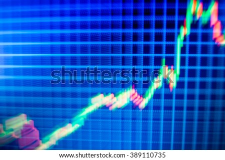 Motion blur effect. Online forex data. Finance background data graph. Price chart bars. Abstract financial background trade colorful. Stock market graph on the screen. Shallow DOF.  - stock photo