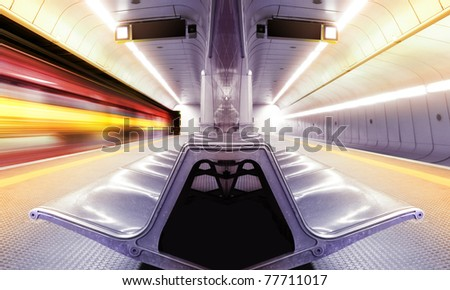 motion blur high speed train in subway - stock photo