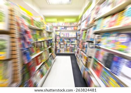 motion blur image of bookstore - stock photo