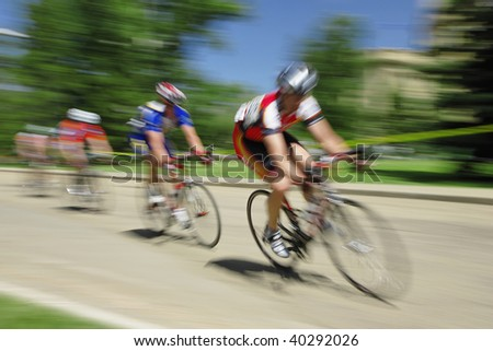Motion blur of bicycle race. - stock photo