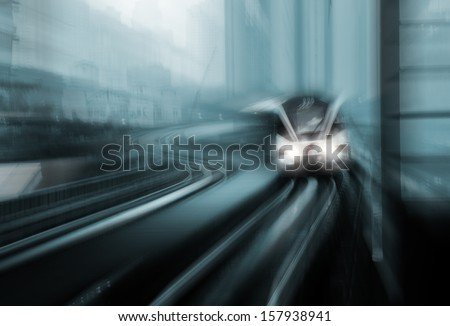 Motion blur of high speed train - stock photo
