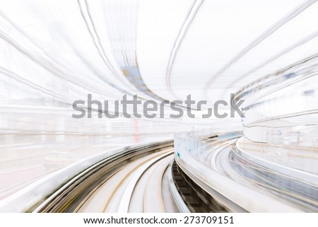 Motion blur of Japanese Railway Tunnel - stock photo