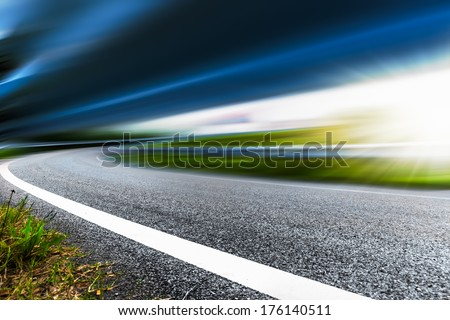 motion blur of the highway road. - stock photo