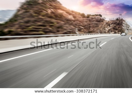 motion blur of the highway road - stock photo