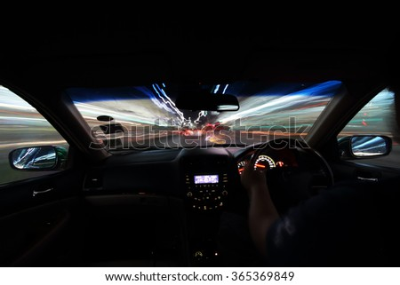 motion blur  of the vehicle and light