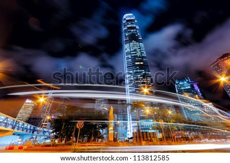 Motion blur of traffic in Hong Kong. - stock photo