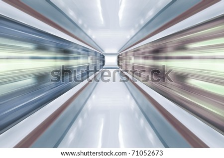 motion blur outdoor of high speed train in subway - stock photo