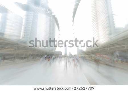 motion blur people in business area - stock photo