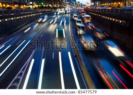 Motion blur. Rush hour in the late afternoon. Late afternoon traffic. Background. Abstract.