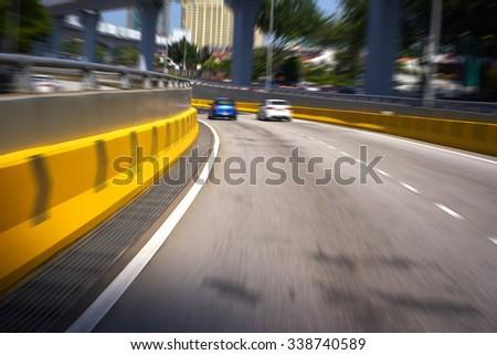 motion blur Street background - stock photo