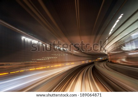 Motion blur train road background - stock photo