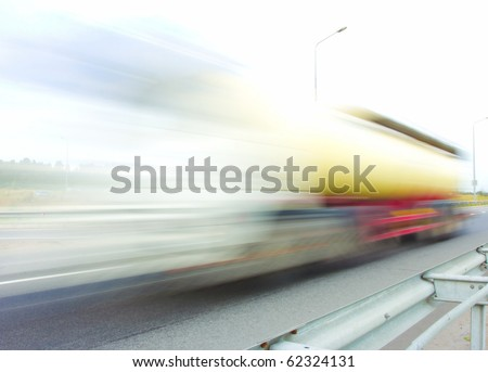 motion blur truck - stock photo
