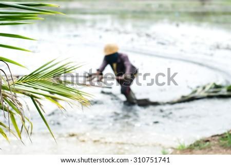 motion blur Walking tractor - Thailand rice planting season - stock photo
