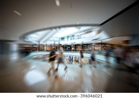 Motion Blurred Background of Modern Shopping Mall
