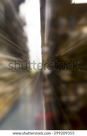 motion blurred background with bokeh, long exposure with zoom effect - stock photo