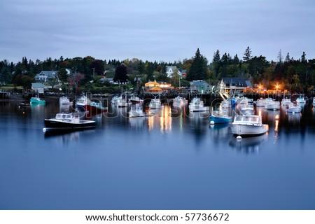 Motion Blurred Boats, Bernard Maine, Acadia National Park - stock photo