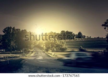 Motion blurred car  - stock photo
