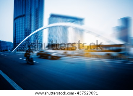 motion blurred car at bridge,tianjin city,china.