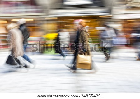 Motion Blurred Commuters - stock photo