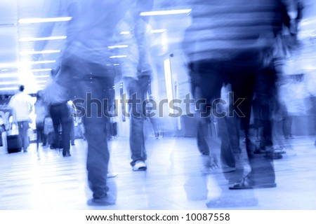 motion blurred of people walking in subway - stock photo