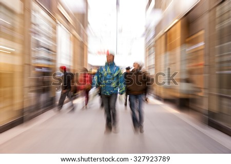 Motion blurred pedestrians, zoom effect