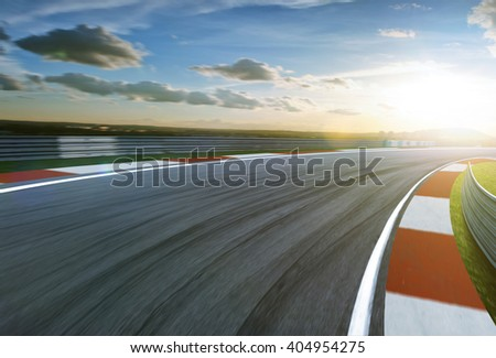 Motion blurred racetrack,cold mood - stock photo
