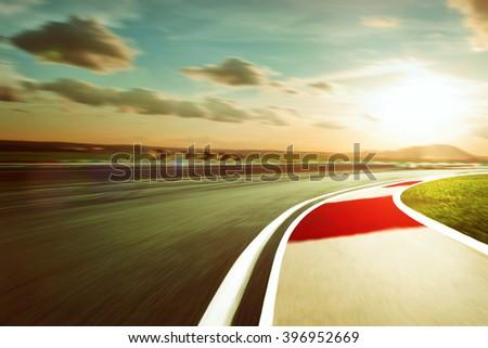 Motion blurred racetrack,vintage mood mood - stock photo