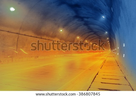 motion car go through the tunnel