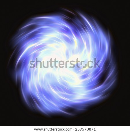 motion curled blue flash beam in space. motion blur effect