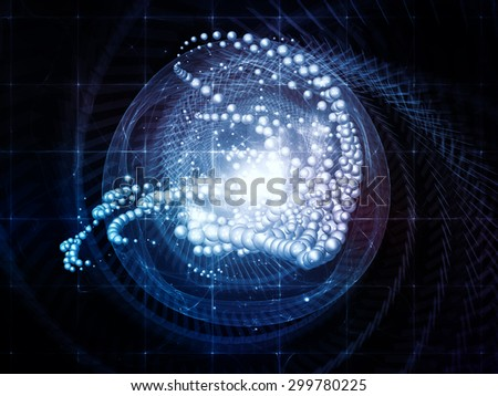 Motion Particle series. Creative arrangement of dynamic particles and lights as a concept metaphor on subject of science, education and technology