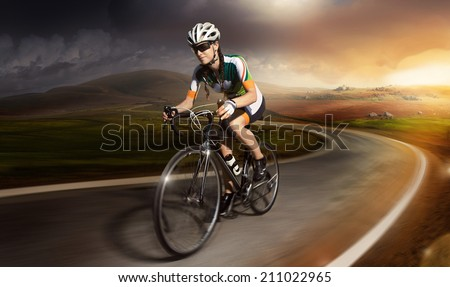 Motion road cyclist  - stock photo